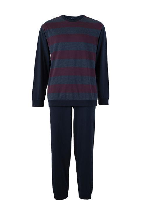 férfi pizsama szürke-bordó csíkos előlről - Bonatti 2018 őszi téli kollekció