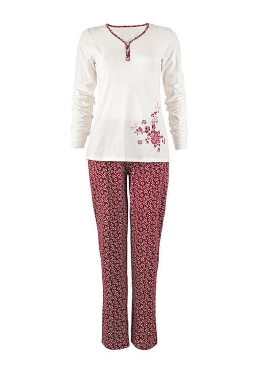 női pizsama IRMINA bordó fehér virágmintás