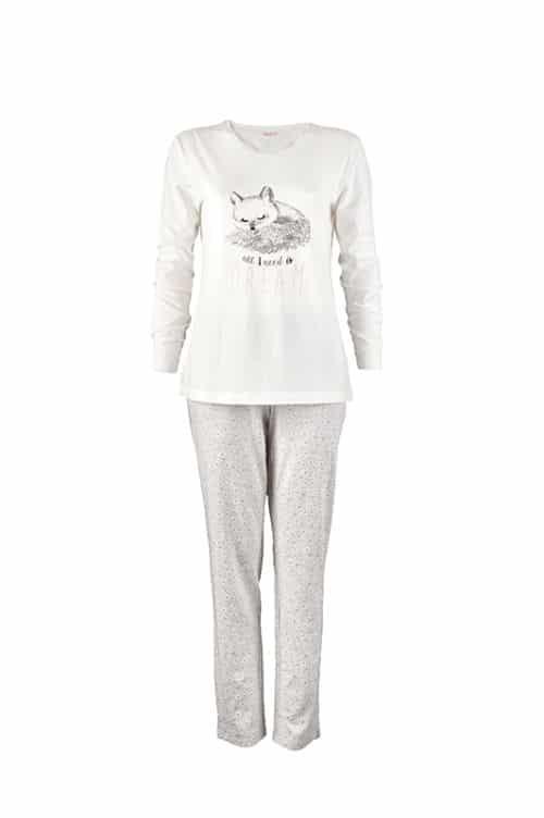 női pizsama LIN szürke fehér