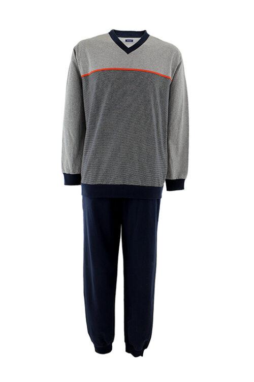 ADOLFO J-20 férfi pizsama, szürke felső, kék alsó